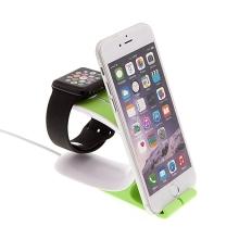Nabíjecí stojánek Loca Mobius pro Apple Watch 38mm / 42mm a iPhone / iPad - plasto-silikonový zelený
