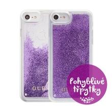 Kryt GUESS Triangle pro Apple iPhone 6 / 6S / 7 / 8 - plastový - glitter / fialové třpytky