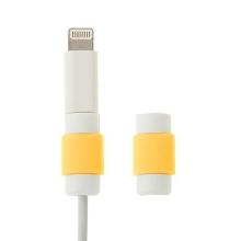 Plastová ochrana / rozlišovač na standardní tloušťku nabíjecích / synchronizačních kabelů - bílo-žlutá