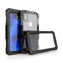 Pouzdro pro Apple iPhone Xs Max - voděodolné - plast / silikon - průhledné / černé