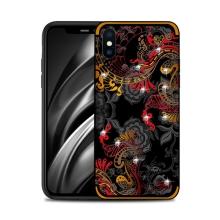 Kryt NXE pro Apple iPhone Xs Max - květinový motiv s kamínky - červený