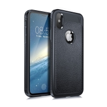 Kryt LENUO pro Apple iPhone X / Xs - textura kůže - gumový - tmavě modrý
