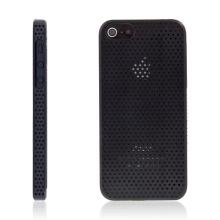 Ochranný plastový kryt pro Apple iPhone 5 / 5S / SE - děrovaný - černý