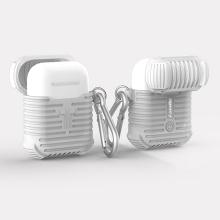 Pouzdro / obal pro Apple AirPods - silikonové - odolné - poutko na zavěšení + karabina - bílé