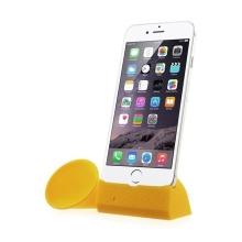 Přenosný silikonový stojánek KALAIXING se zesilovačem zvuku pro Apple iPhone 6 / 6S / 7 - žlutý