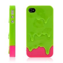 Plastový kryt pro Apple iPhone 4 / 4S - tající zmrzlina - zeleno-růžový