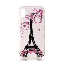 Kryt pro Apple iPhone X / Xs - gumový - Eiffelovka a třešeň