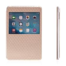 Pouzdro pro Apple iPad mini 4 - stojánek, prostor na doklady a průhledné okénko - zlaté