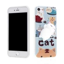 Kryt pro Apple iPhone 7 / 8 - gumový - 3D spící kočička - bílá