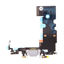 Napájecí a datový konektor s flex kabelem + GSM anténa + mikrofony pro Apple iPhone 8 - šedý - kvalita A+