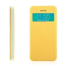 Flipové pouzdro pro Apple iPhone 5 / 5S / SE s průhledným prvkem / výřezem pro displej - žluté