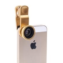 Multifunkční objektiv 3v1 s klipem pro Apple iPhone a jiné - 180°rybí oko / 0,67x širokoúhlý objektiv / makro objektiv - zlatý