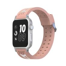 Řemínek pro Apple Watch 44mm Series 4 / 42mm 1 2 3 - sportovní - silikonový - růžový / bílý