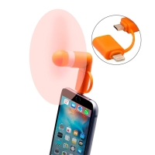 Větráček / ventilátor s Lightning a micro USB konektorem - oranžový