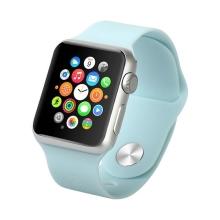 Řemínek pro Apple Watch 44mm Series 4 / 38mm 1 2 3 - silikonový - světle modrý