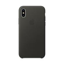 Originální kryt pro Apple iPhone X - kožený - uhlově šedý