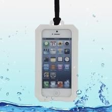 Voděodolné plasto-silikonové pouzdro iPega pro Apple iPhone 5 / 5S / SE - bílo-průhledné