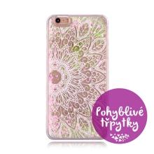 Kryt pro Apple iPhone 6 / 6S - pohyblivé třpytky - plastový - bílý / růžový - mandala