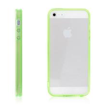 Ochranný plasto-gumový kryt s antiprachovou záslepkou pro Apple iPhone 5 / 5S / SE - průhledný se zeleným rámečkem