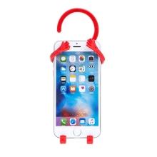 Držák / věšák pro Apple iPhone - kov / guma - červený