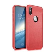 Kryt LENUO pro Apple iPhone X / Xs - textura kůže - gumový - červený