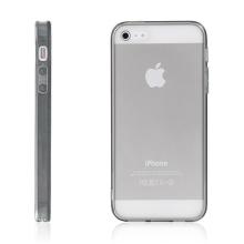 Ochranný plasto-gumový kryt s antiprachovou záslepkou pro Apple iPhone 5 / 5S / SE - průhledný s šedým rámečkem