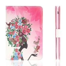 Pouzdro / kryt pro Apple iPad mini / mini 2 / mini 3 - integrovaný stojánek - dívka s květinami