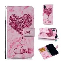 Pouzdro pro Apple iPhone X / Xs - stojánek + prostor pro platební kartu - srdce - růžové