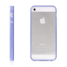Ochranný plasto-gumový kryt s antiprachovou záslepkou pro Apple iPhone 5 / 5S / SE - průhledný s fialovým rámečkem