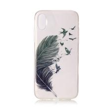 Kryt pro Apple iPhone X / Xs - gumový - ptačí pírko