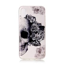 Kryt pro Apple iPhone X / Xs - gumový - lebka a růže