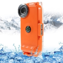 Vodotěsné pouzdro s odolností do 40m hloubky (IPX8) a kompasem pro Apple iPhone 5 / 5S / SE - oranžové