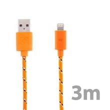 Synchronizační a nabíjecí kabel Lightning pro Apple iPhone / iPad / iPod - tkanička - oranžový - 3m