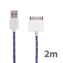 Synchronizační a nabíjecí kabel s 30pin konektorem pro Apple iPhone / iPad / iPod - tkanička - fialový - 2m