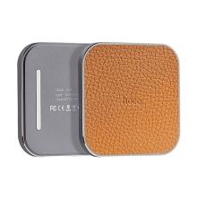 Bezdrátová nabíječka / nabíjecí podložka Qi HOCO - koženkový povrch / kovový rámeček stříbrný