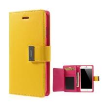 Pouzdro Mercury ve stylu peněženky s magneticky uzavíracím klipem pro Apple iPhone 6 Plus / 6S Plus - žluto-růžové