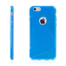 Kryt pro Apple iPhone 6 / 6S gumový výřez pro logo modrý