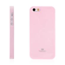 Gumový kryt Mercury pro Apple iPhone 5 / 5S / SE - jemně třpytivý - světle růžový