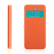 Flipové pouzdro pro Apple iPhone 5 / 5S / SE s průhledným prvkem / výřezem pro displej - oranžové