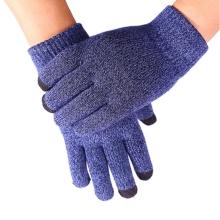 Rukavice pro ovládání dotykových zařízení - žíhané - černo-modré