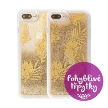 Kryt GUESS Palm Spring Gold pro Apple iPhone 6 Plus / 6S Plus / 7 Plus / 8 Plus - plastový - glitter / zlaté třpytky