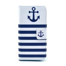 Pouzdro pro Apple iPhone 5 / 5S / SE se stojánkem a prostorem na osobní doklady - námořní