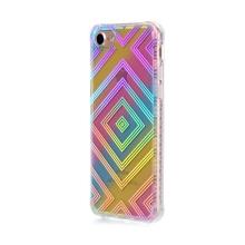 Kryt pro Apple iPhone 7 / 8 - gumový / plastový - duhový / stříbrné čtverce