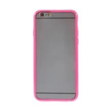 Kryt pro Apple iPhone 6 / 6S - gumový plastový / růžový rámeček - matný průhledný