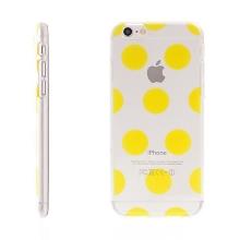Plastový kryt pro Apple iPhone 6 / 6S - průhledný - žluté puntíky