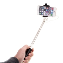 Selfie tyč teleskopická - kabelová spoušť - 3,5mm jack - černá