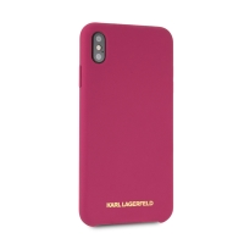 Kryt KARL LAGERFELD pro Apple iPhone Xs Max - silikonový - růžový