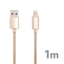 Synchronizační a nabíjecí kabel Lightning pro Apple iPhone / iPad / iPod - nylonový - zlatý (Champagne) - 1m