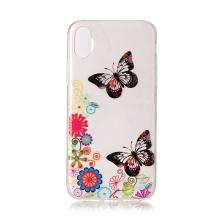 Kryt pro Apple iPhone X / Xs - gumový - retro květiny a motýli