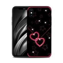 Kryt NXE pro Apple iPhone Xs Max - srdce a hvězdy s kamínky - černý